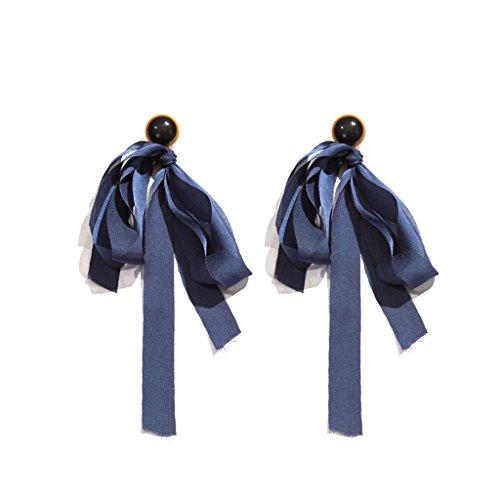 Pendientes de estilo coreano pendientes largos de aleación de cinta azul marino
