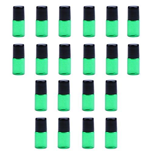 dailymall 20 Pièces Mini Rechargeable Vide Verre Rouleau Sur Bouteilles Conteneurs - Vert, 3ML
