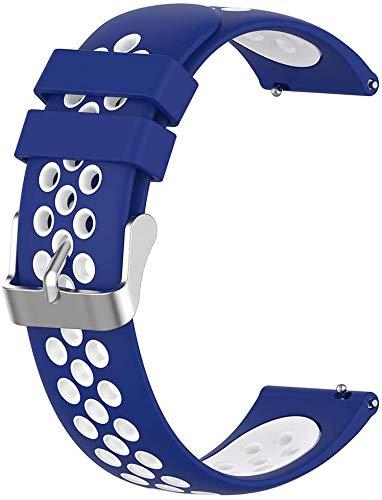 Simpleas Silicone Bandes de Montre Compatible avec Ticwatch C2 Rose Gold (Women) 18mm - Libération Rapide - Choisissez Couleur - Montre Sangles (18mm, Bleu et Blanc)