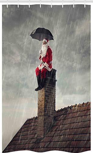 ABAKUHAUS Weihnachten Schmaler Duschvorhang, Sankt auf Kamin in Regen, Badezimmer Deko Set aus Stoff mit Haken, 120 x 180 cm, Vermilion Dunkle Taupe & Abenddämmerung