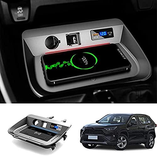 Cargador Inalámbrico para Coche Apto para Toyota RAV4 2019 2020,Cargador Inalámbrico Personalizado QC 3.0 Compatible con iPhone XS,XR,X,8,Apto para Samsung S9 / +,S8,S7,Nota 8,