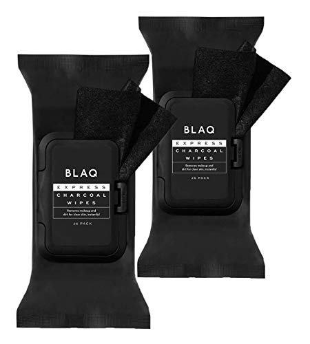 BLAQ Activated Charcoal Express Face Wipes   Super Soft Charcoal Facial Cleansing Wipes   Great Stocking Stuffer   Great as Makeup Remover Wipes, Detoxifying Face Wipes, Deep Pore Cleanser Facial Wipes - 25x2 Count