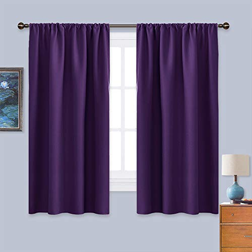 NICETOWN Blackout Curtains for Living Room - Triple Weave Home Decoration Thermal Insulated Solid Rod Pocket Blackout Drapes for Bedroom(Set of 2, 42 x 63 Inch, Royal Purple)