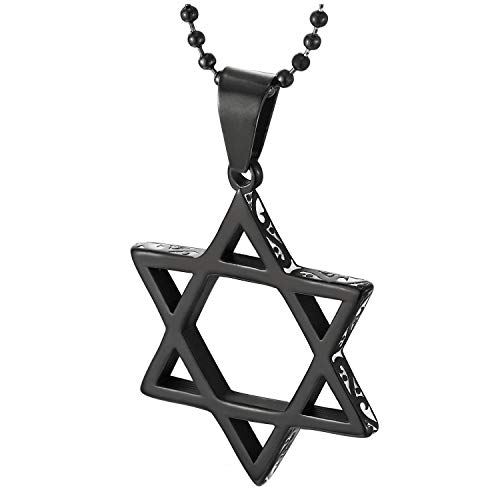 COOLSTEELANDBEYOND Mens Womens Steel Black Star-of-David Pendant Necklace with Tribal Tattoo Pattern and White Enamel