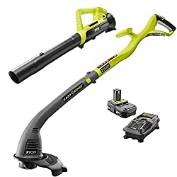 in budget affordable Ryobi One ONE + Lithium Ion Trimmer / Edger  18 V Blower Combination Kit, 2.0Ah Battery and…