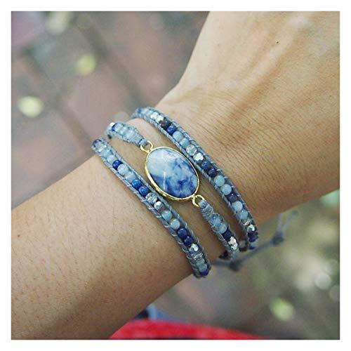HCHL Trenzado Piedra Natural mezclada Azul, Abalorios de Cristal, Pulsera de Pulsera Ajustable apilable, Regalo para el día de la Madre Ajustable