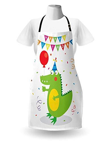 WELQUN Schürze Aprons Schürze Geburtstagsfeier Für Party Boy Krokodil Mit Luftballons Und Konfetti Icons Küche Lätzchen Mit Verstellbarem Hals