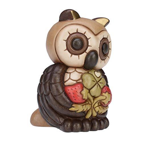 THUN ® - Gufo Medio con Fragole e Quadrifoglio - Ceramica - h 14 cm - Linea I Classici