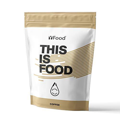 YFood Pulver | Laktose- und glutenfreier Nahrungsersatz | 17 Mahlzeiten, 26 Vitamine & Mineralstoffe | Proteinpulver zum Selbermischen| Leckerer Eiweiß-Shake | 1,5kg Beutel (Kaffee)
