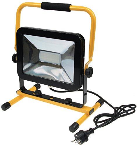 LED Baustrahler Arbeitsleuchte Fluter 50Watt 3700 Lumen neutralweiß 4200k Ständer Standfuß 1,4m Kabel Sicherheitsglas