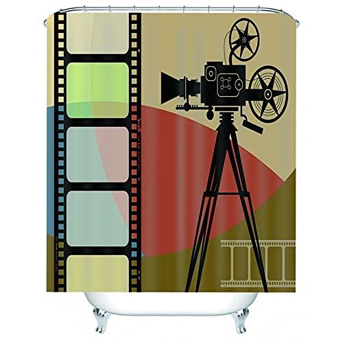 Bishilin Douchegordijnen, Filmcamera En Filmrolletjes Patroon Bath Curtain met Haken, Polyester, 180 x 180 cm, Zwart