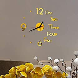 Riforla Medium DIY Wall Clock, 3D Mirror Surface Stickers Frameless Modern Design Large Watch Roman Numerals Clock Silent Home Decor for Living Room Bedroom/Office/School Number Clock Decorations Gift