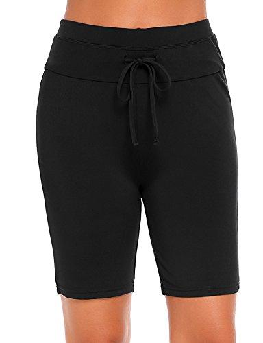Ekouaer Womens Board Shorts High Waist Swim Shorts Beach Surf Swimwear Shorts,Black,XX-Large
