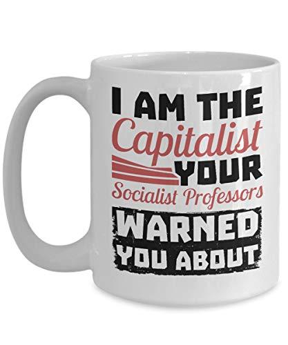 Taza de café Capitalism, color blanco, antisocialismo, libertario, antisocialista, universidad, estudiante, propiedad privada, Murray Rothbard