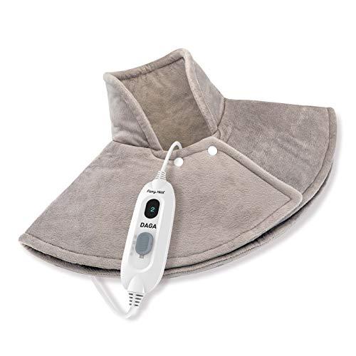 Daga Flexy-Heat NC Complex-Elektrisches Heizkissen für Nacken,Schulter, Mikrofaser, Grau, 60 x 62, Sicherheit Auto-Stopp, 3 Temperaturstufen