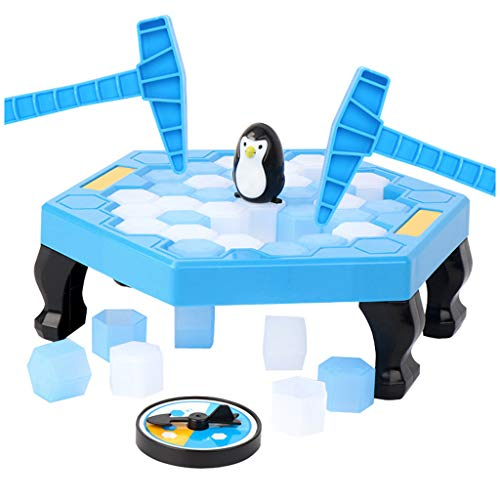 Affordable Puzzle Table Games Penguin Toy Ice Pounding Ice Cubes Save Penguin Knock Ice Block Wall Toys Desktop Paternity Interactive Game Party Supplies Funny Toys Game for Kids, Boy, Girl (Blue, 2320cm)