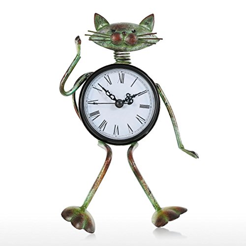 Tooarts Horloge à chat Horloge à la main Vintage Metal Iron Cat Figurine Mute Table Clock Horloge...