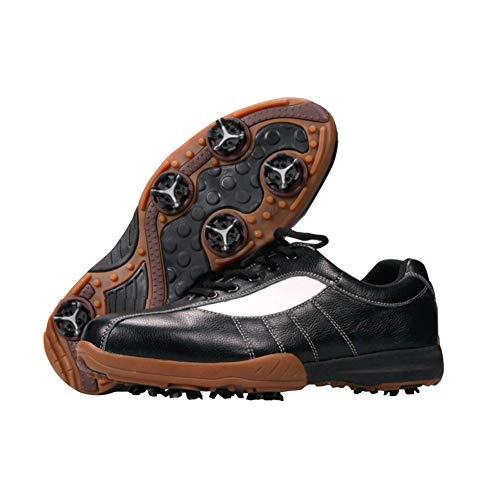 CGBF-Zapatos de Golf Resistentes Al Desgaste Transpirables para Hombres, Zapatos para Correr Impermeables Cómodos, Zapatos Deportivos Al Aire Libre,Negro,43 EU