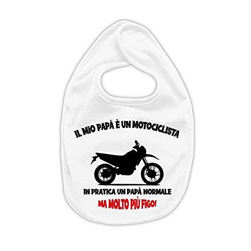 La Ruotante Babero de algodón 100 % para moto, motocross, motero o papá, regalo de nacimiento, 3, Talla única