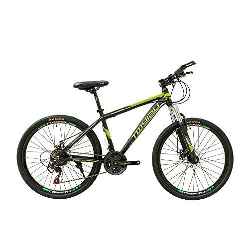 JHKGY Bicicleta De Montaña para Jóvenes/Adultos,Bicicleta con Amortiguación De Golpes De 26 Pulgadas Y 21 Velocidades,Bicicleta De Suspensión Delantera Doble De Aleación De Aluminio,Verde