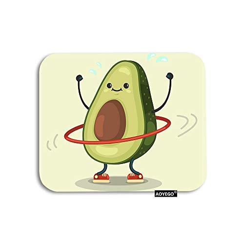 AOYEGO Fruit Mouse Pad Cute Avocado Doing Exercise with Hula Hoop Gaming Mousepad Rubber Large Pad Non-Slip for Computer Laptop Office Work Desk 9.5x7.9 Inch Green