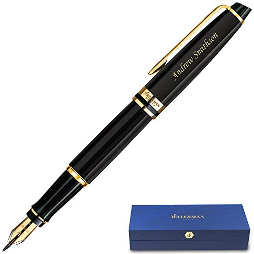 Personalized Waterman Fountain Pen | Engraved Waterman Expert Fountain Pen Black with Gold Trim. Custom Engraved By Dayspring Pens.