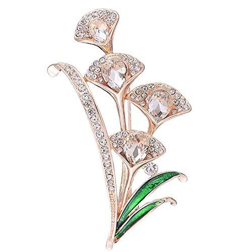 WanXingY Elegantes señoras Rhinestone Broche de la Solapa Decoración de la decoración Broche Artificial Pearl Flor Leaf Broche Set (Color : Rose Gold)