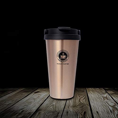 Hignful Premium Edelstahl Kaffee-to-Go-Becher | Thermo-Becher | Kaffee-to-Go-Becher |Isolierbecher – Vakuumisoliert - 500 ml | Reise-Becher für Kaffee – Autobecher Travel Mug (Goldene)