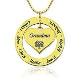 Zhaolian888 Collier Prenom Personnalisé Nom de Famille Collier avec Pendentif en Forme de Coeur pour Cadeau de Noël Maman Grand-mère