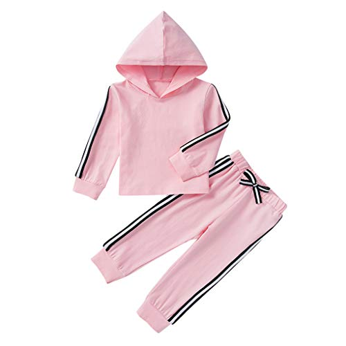 Hui.Hui Ensemble Bébé Filles Sweat-Shirt à Capuche Imprimé t-Shirt Couleur Unie Manches Longues Chemise Blouse + Pantalon Tenues Hiver Chaud Costume 0-4 Ans