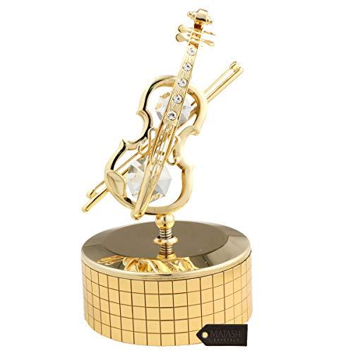 Caja de música, violín, bañada en oro de 24 quilates e incrustada con auténticos cristales Matashi.