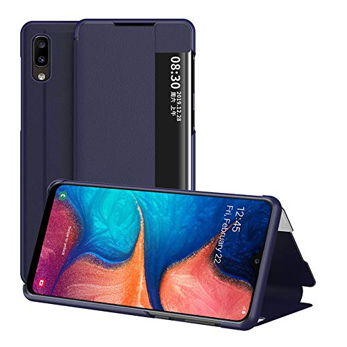 JZ View Side Window Flip Cover Compatible with Samsung Galaxy A20e [Kickstand] Smart Wallet Phone Custodia - Blue