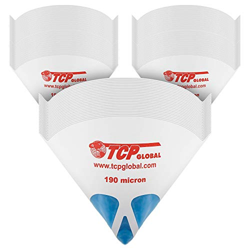 TCP Global 250 Pack of Paint Strainers with Fine 190 Micron Filter Tips - Premium Pure Blue Ultra-Flow Blue Nylon Mesh - Cone Paint Filter Screen
