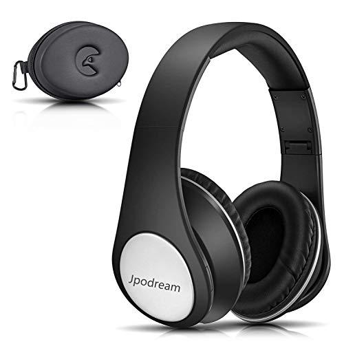 Jpodream Bluetooth Kopfhörer Over Ear, [Bis zu 25 Std] Kabellose Kopfhoerer mit Hi-Fi Stereo, Faltbare & Snug Earmuffs, Kompatibel mit Apple und Android Geräten - Black