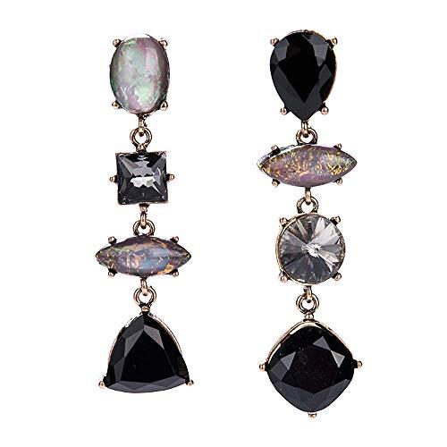Pendientes largos geométricos vintage con forma de lágrima irregular ovalada, con forma cuadrada, para mujeres y niñas