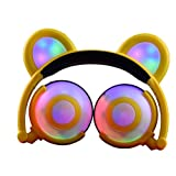 OUTOS Bear Headphones, Rechargeable Cute Bear Headphones with LED Flashing Glowing Colorful Lights Foldable Over Ear Cosplay Fancy Headsets for iPhone, iPod, MP3, MP4 and Android Phone (Yellow)