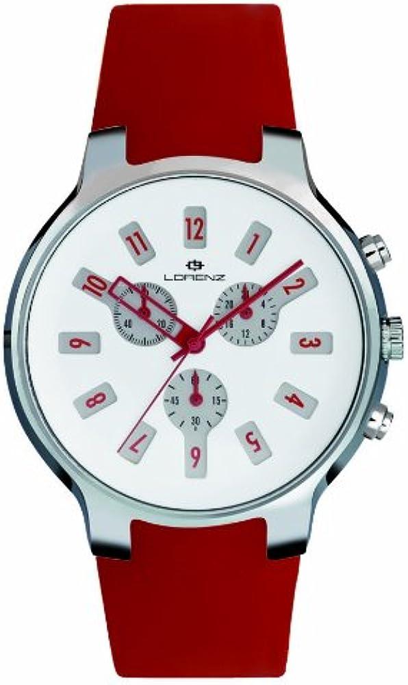 Lorenz iconograph,orologio cronografo da polso, unisex,con cinturino in siilicone e cassa in acciaio 26783CC