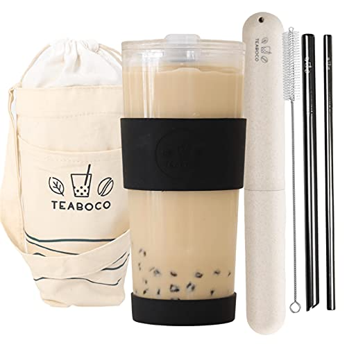 All-in-One Reusable Boba Cup / Smoothie Tumbler - 24oz BPA FREE Bottle with Leak Proof Lid, Silicone Sleeve and Two Metal Straws for Water, Juice, Smoothies, Bubble Milk Tea and Coffee (Chic Black)