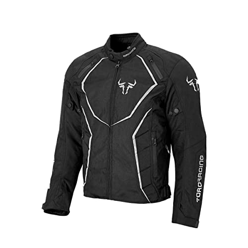 Toro Racing Chaqueta Moto BOSTON R, Impermeable 100%, Protecciones Codo hombros, Forro Térmico, Transpirable, UNISEX, Motorista Racing, Circuito, Moto GP (Blanco, XL)