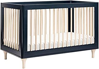 Babyletto Lolly 3-in-1 Convertible Crib with Toddler Bed Conversion Kit, Navy/Washed Natural