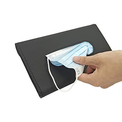 eeglog Car Tissue Holder,Black PU Leather Tissue Box, Sun Visor Napkin Holder, Hanging Car Visor Tissue Holder for Universal Auto, car Accessories for Easy use