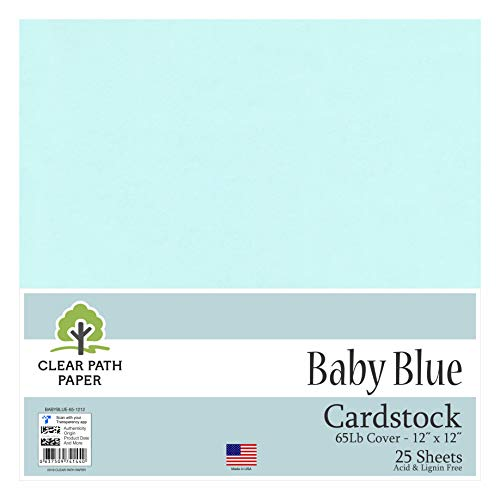 Baby Blue Cardstock - 12 x 12 inch - 65Lb Cover - 25 Sheets - Clear Path Paper
