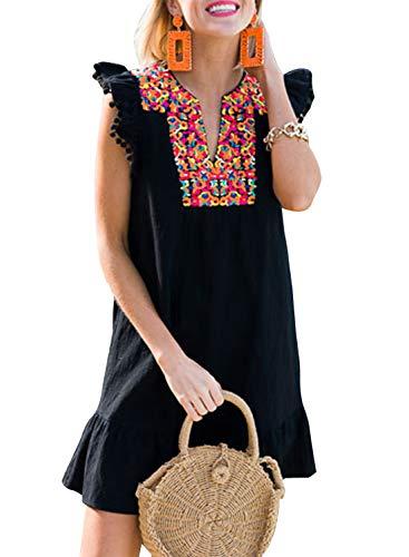 CORAFRITZ Falda casual con cuello en V para mujer, estilo bohemio, estilo mexicano, con estampado de bordado, mini pompón, manga cambiante, vestido para mujer de verano
