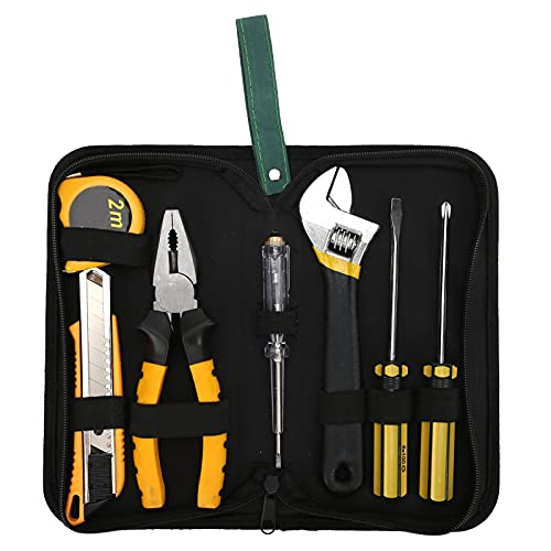 Juego de herramientas de reparación del hogar, paquete combinado, juego de herramientas mixtas, juego de herramientas de mano con bolsa de tela para el hogar, el garaje y el taller