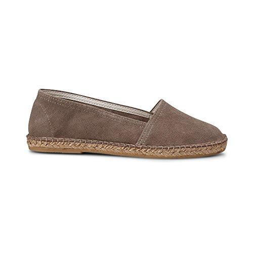 Cox Damen Velours-Espadrille in Taupe, sommerlicher Slipper aus Leder mit Bast-Sohle und gummierter Lauffläche Taupe Rauleder 40