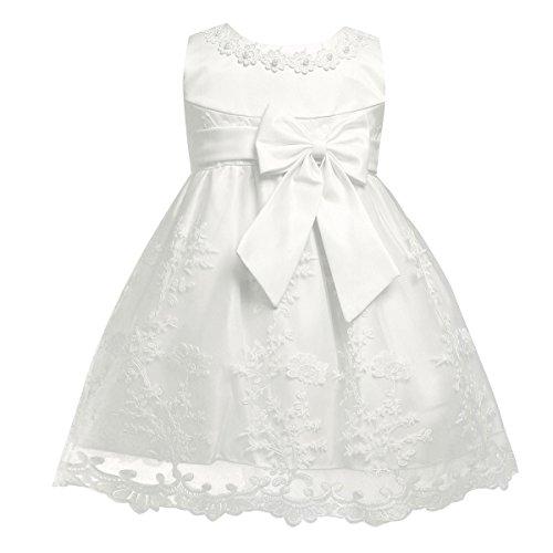 TiaoBug Baby Mädchen Kleid Prinzessin Hochzeit Taufkleid Blumenmädchen Festlich Kleid Kleinkind Festzug Kleidung Ivory Modell 3 62-68