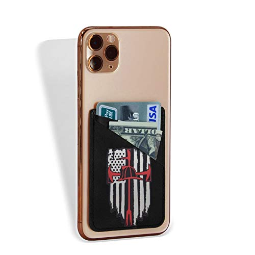 YYFF Phone Card Holder USA Thin Red Line Firefighter Axe Silicone Adhesive Stick-on ID Credit Card Wallet Phone Case Pouch Sleeve Pocket Compatible with Most of Smartphones