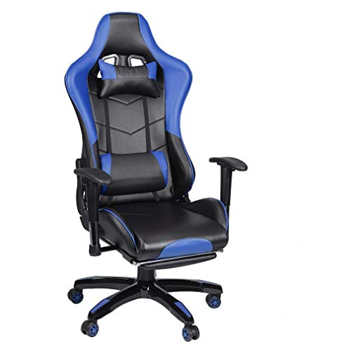 Sillas de diseño ergonómico para el hogar y la oficina, silla de juegos con reposapiés ajustable de respaldo alto, silla de carreras de piel sintética con apoyo lumbar y reposacabezas, color azul