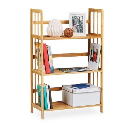 Relaxdays Libreria in bambù, Legno, 3 Mensole, H x L x P: 88 x 55 x 26 cm, Scaffale Bagno, Scarpiera da Terra, Naturale, Brown, 1 pz