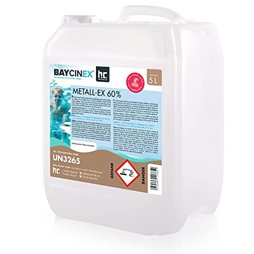 Höfer Chemie 1 x 5 L Metall-Ex 60% für Pool - entfernt Metall - und Kalkablagerungen und senkt die Gesamthärte - für kristallklares Wasser